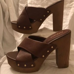 BCBGeneration Zadie Platform Sandals Brown Size 8M